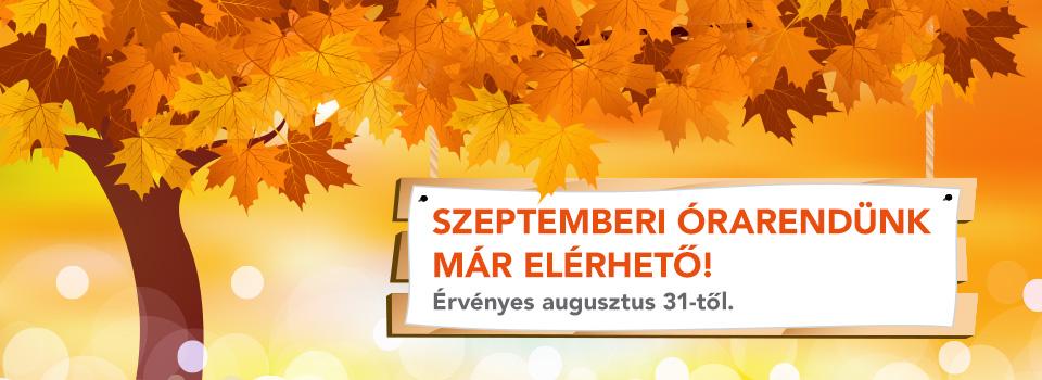 Már elérhető a szeptemberi órarend