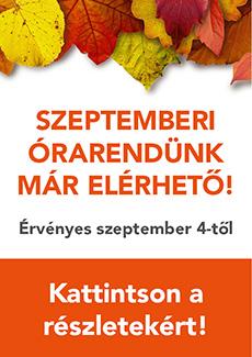 2017 szeptemberi órarend hirdetés