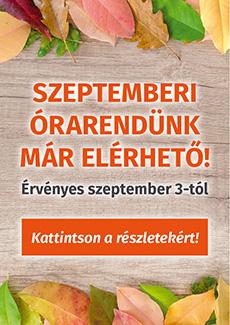 2018 szeptemberi órarend hirdetés