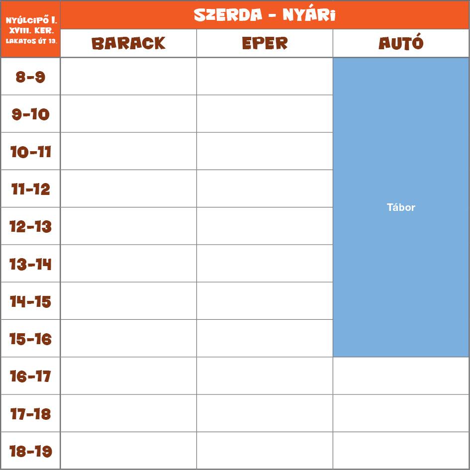 Nyúlcipő 1 NYÁRI órarendje - XVIII. kerület (Lakatos út) - szerda
